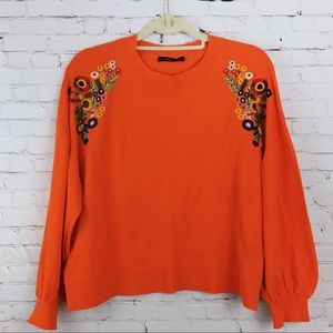 ZARA Sweater Floral Embroidered Orange Size S